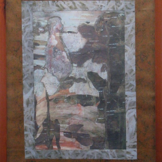 A tree bark collage, 16 by 20 inch  Canvas panel