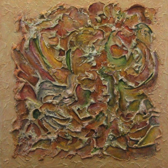 Fall- Leaves on ground  24 by 24  inch~Plywood.This painting depicts the feel of Fall,when leaves cover the ground