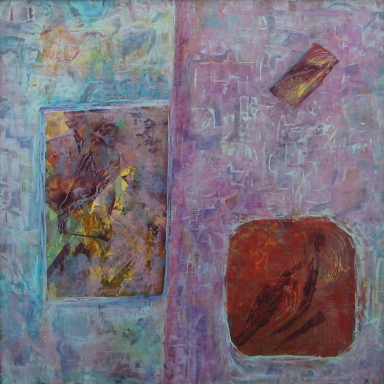 Birds in windows  24 by 24 inch  Plywood