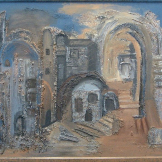 An old city 25 by 31.5 inch  Canvas panel with frame