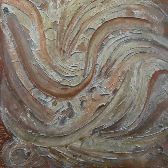 A bird  24 by 24 inch~  Plywood. This painting depicts the motion of feathers,symbolizing mobility of birds