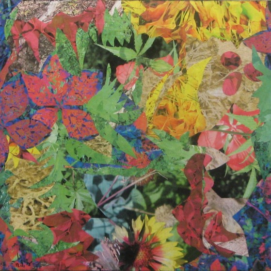 Celebrating nature. A collage of leaves. 21 by 23.5 inch~  Plywood