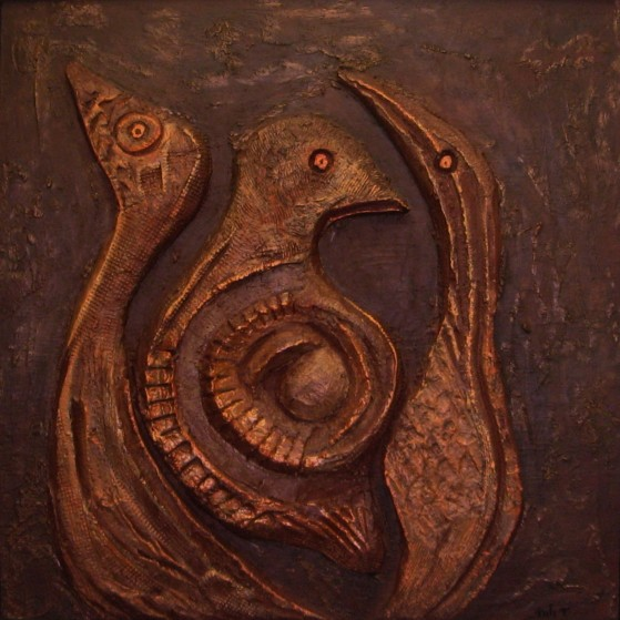 A relief of birds 24 by 24 inch  Plywood