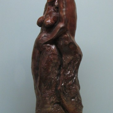 Lovers.Made of a mix of powder clay and cement. 25 H by 8 W 3 D in