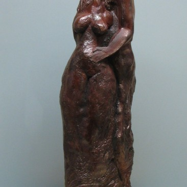 Lovers.Made of a mix of powder clay and cement 25 H by 8 W 3 D in