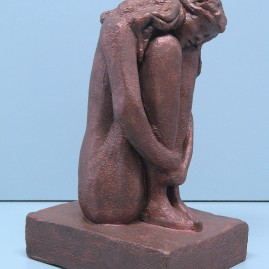 Loneliness.Made of clay. 11.5 H by 25.5 inch perimeter