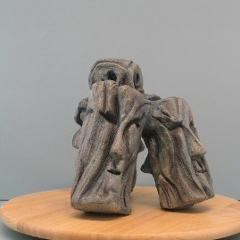 Wisdom of old age.Made of clay. 9.5 H by 11 W by 9 W  inch.(30 in perimeter) Bronze is optional
