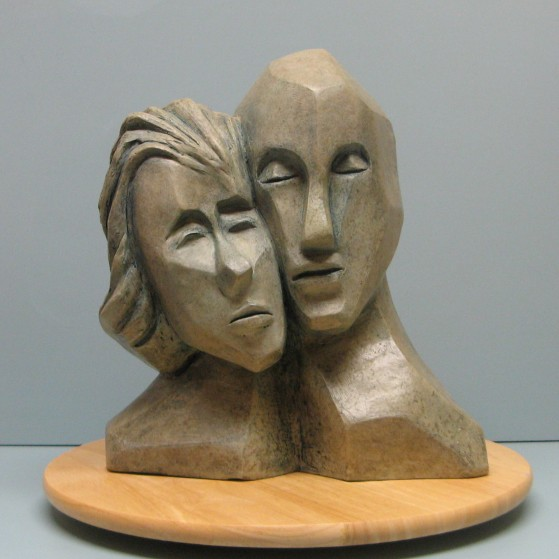 Togetherness.Made of Terracotta.Bronze cast is optional.14 H 12.5 W 6.5 inch  D