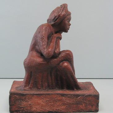 Softness. Made  of Winterstone.Bronze cast is optional.11 H by 9 W by 5 inch  D
