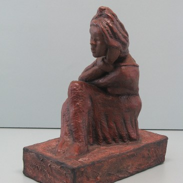 Softness. Made  of Winterstone. Bronze cast is optional.11 H by 9 W by 5 inch  D
