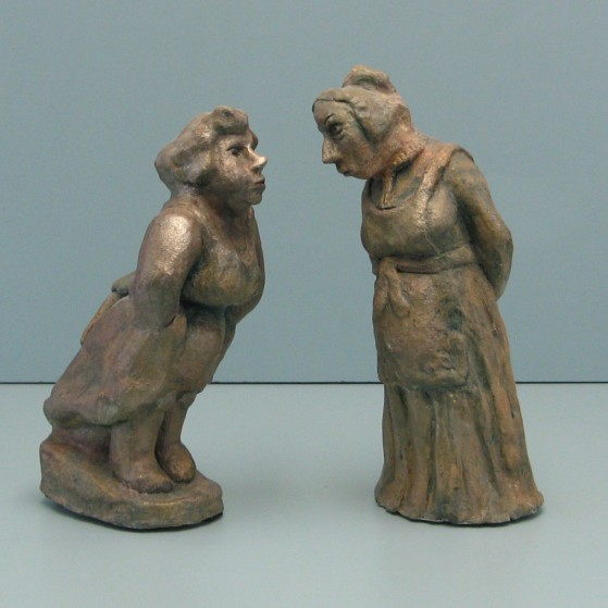 The gossipers.Made of Terracotta.Bronze cast is optional for 20,000$