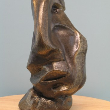 Sadness.Made of mixed powder clay and cement.Bronze cast is optional.12.5 H by 6 W by 5.5  inch D. In Bronze-12,000$