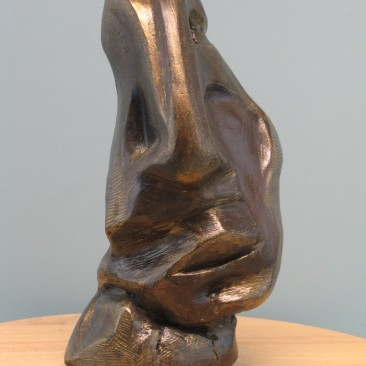 Sadness.Made of mixed powder clay and cement.Bronze cast is optional.12.5 H by 6 W by 5.5  inch D