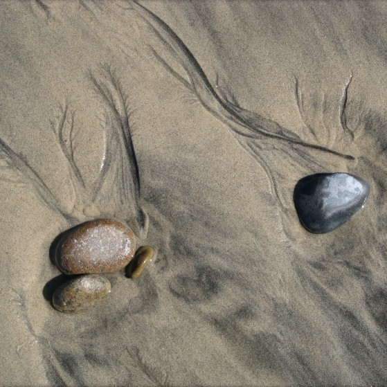 Shapes on sand made by nature