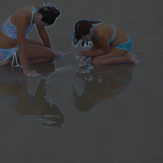 Bahamas,Reflections of girls on the beach no.2